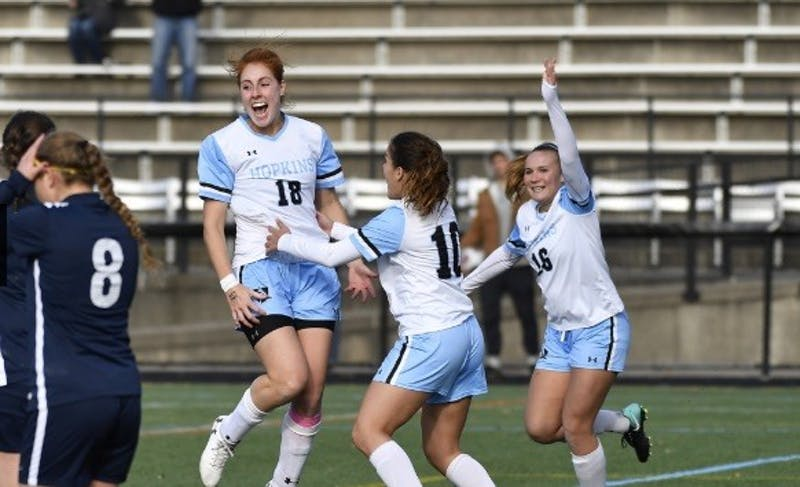 HOPKINSSPORTS.COM Junior Kyla Persky headed the ball into the net for the second goal of her collegiate career.