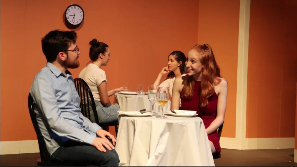 """COURTESY OF WITNESS THEATER Sam Cox and Becky Shade in the first play of the showcase, """"First Date?"""""""