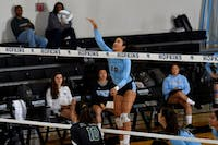 HOPKINSSPORTS.COM Despite going to a fourth set against the 24th-ranked Ithaca, Hopkins still couldn't be beat.