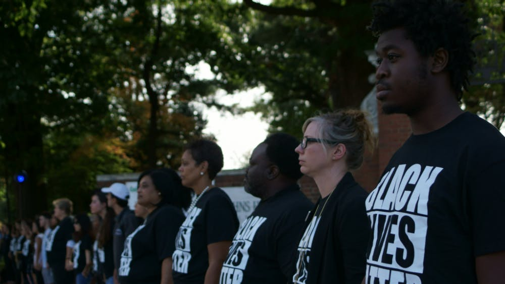 COURTESY OF KUNIL MAITI  Around 400 members of the Hopkins community demonstrated in support of Black Lives Matter last Friday.