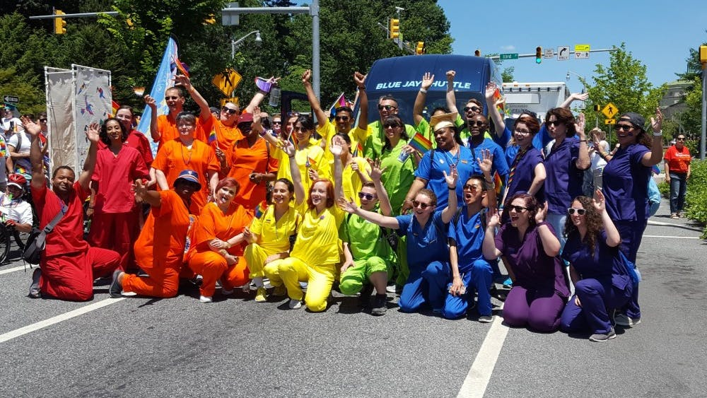 Members of the Hopkins LGBTQ community marched in the 2018 Baltimore Pride Parade, an annual celebration of diverse sexualities and genders.