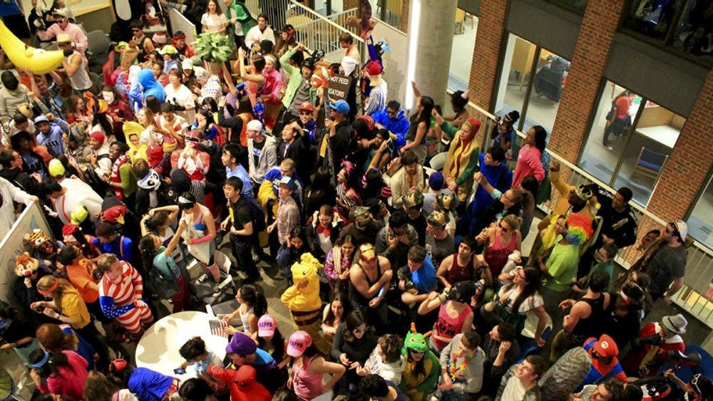 FILE PHOTO Students gather in Brody Learning Commons to film a Harlem Shake video in 2013, when Kupferberg attended Hopkins.