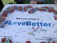 Students signed a banner in support of ending intimate partner violence.