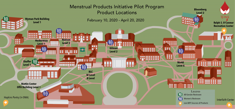 COURTESY OF LAUREN DIAZ Wings distributed free tampons and pads to 10 restrooms on campus, selecting these locations based on the results of a campus-wide survey it distributed last year, which collected over 1000 responses.