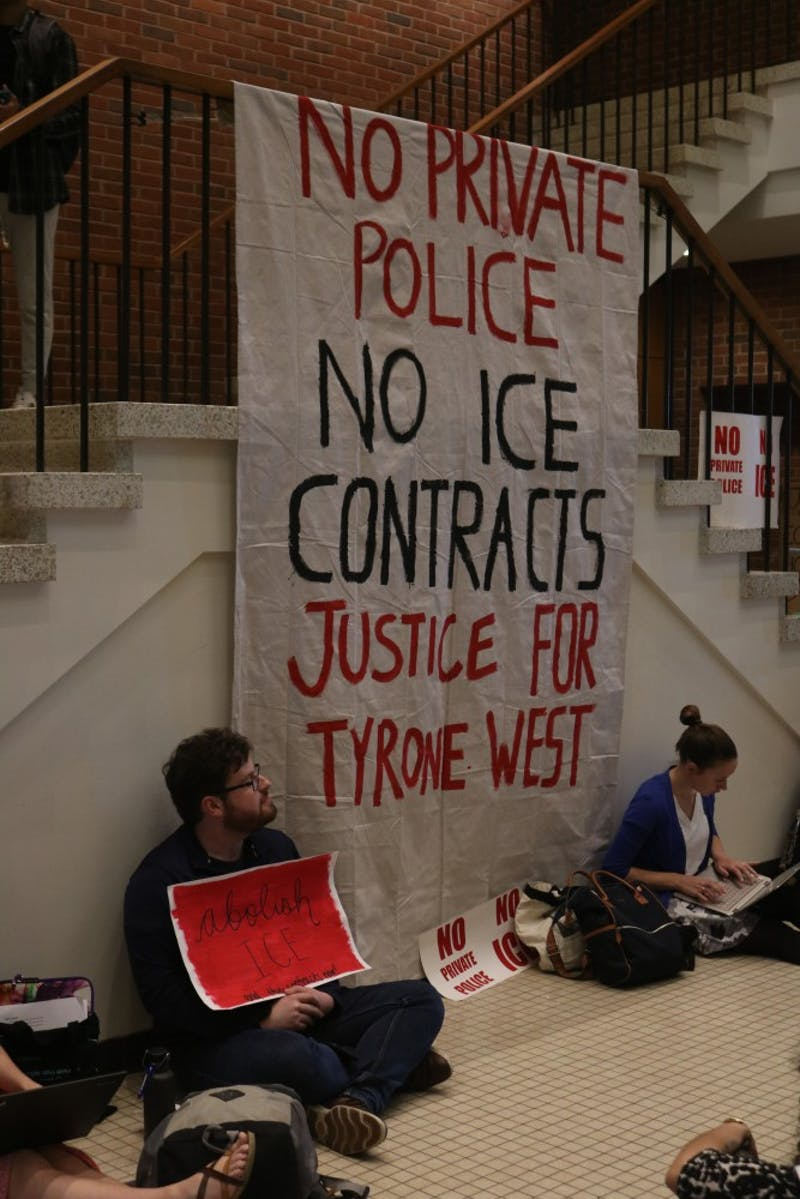 FILE PHOTO The sit-in at Garland Hall reached its third week on Wednesday, April 24.