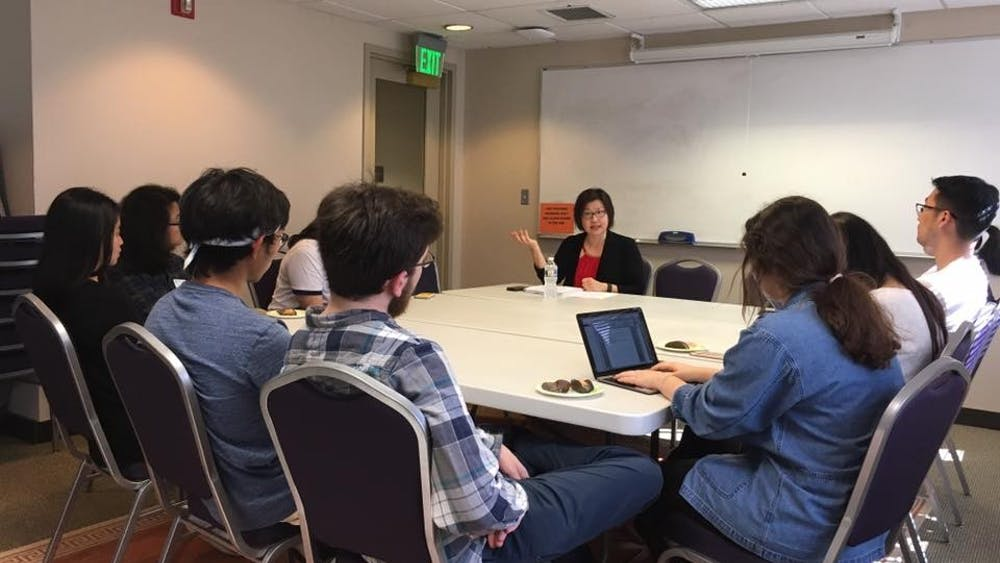 Courtesy of Office of Multicultural Affairs Chung guided a roundtable discussion on the history and politics of Asians in America on Tuesday.