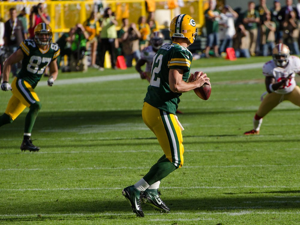 MIKE MORBECK / CC BY-SA Quarterback Aaron Rodgers has continued to perform at a high level.