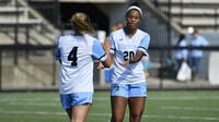 HOPKINSSPORTS.COM Emily Maheras and Rachel Jackson scored all three goals in the 3-2 victory.
