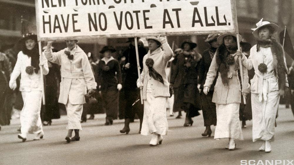 PUBLIC DOMAIN Women were not guaranteed the right to vote until 1920.