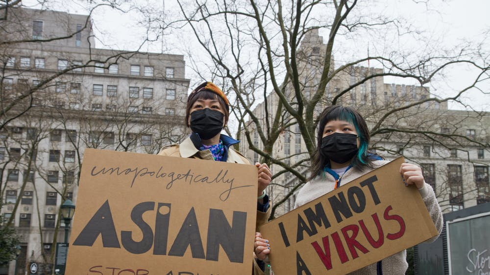 COURTESY OF ANOKHA VENUGOPAL (@photonokha) Hundreds in New York City protested at the Asian American Federation's Rise Up Against Asian Hate Rally on Feb. 27.