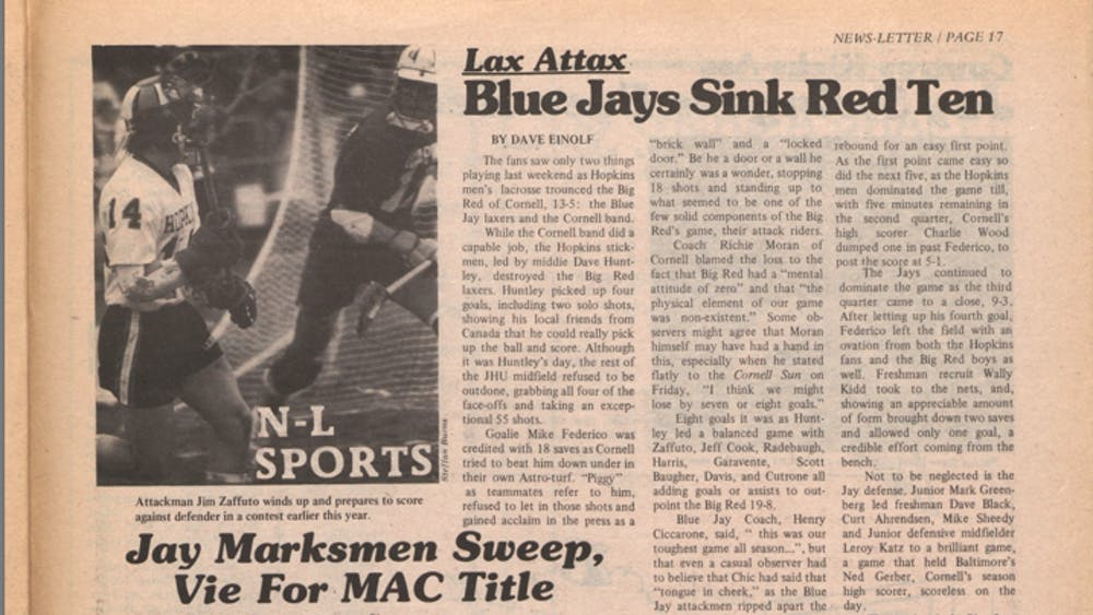 """COURTESY OF THE UNIVERSITY ARCHIVES — SHERIDAN LIBRARIES Einolf's """"Blue Jays Sink Red Ten"""" covered a Hopkins win over Cornell in men's lacrosse."""