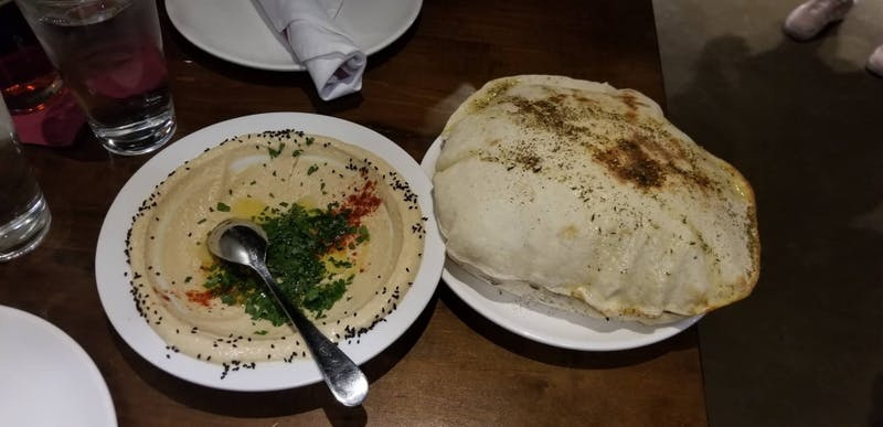 COURTESY OF NATALIE WU Wu enjoyed Cypriana's Classic Hummus & Wood-Baked Pita Bread.