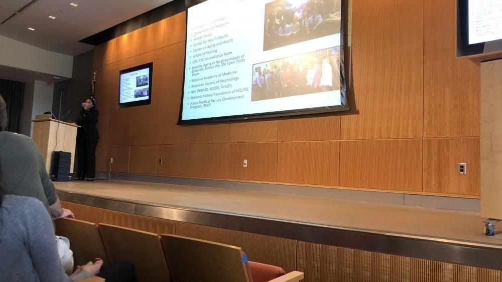 COURTESY OF NEHA SANGANA Crews discussed the socioeconomic factors behind kidney disease.