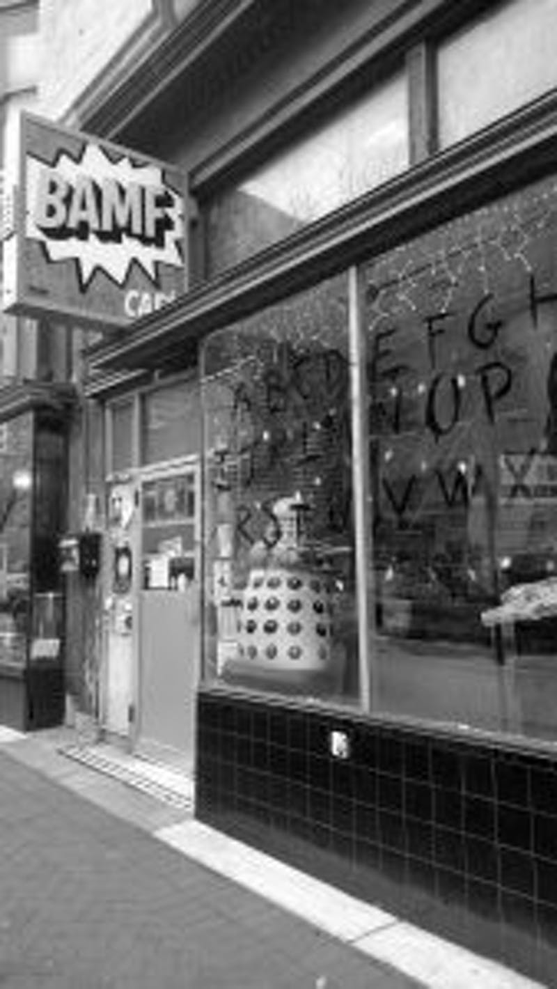 COURTESY OF VERONICA REARDON BAMF cafe shows holiday spirit while displaying a Dalek in the window.