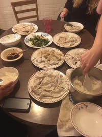 Courtesy of Rollin Hu With a few friends and an evening of chopping, you too can enjoy dumplings.