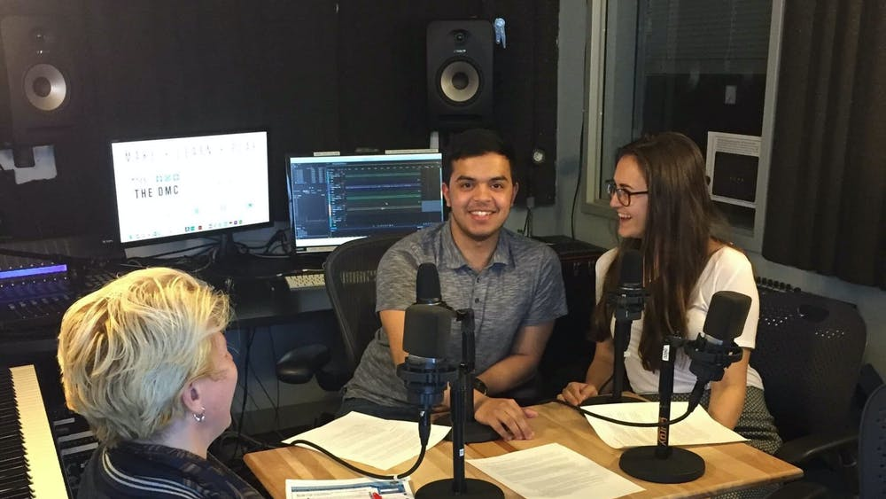 COURTESY OF ZACH WHEELER The Hopkins Podcast on Foreign Affairs features a wide range of guests, including political economist Giovanna Maria Dora Dore, pictured here with co-founders Franz Osilia and Megan Rutkai.