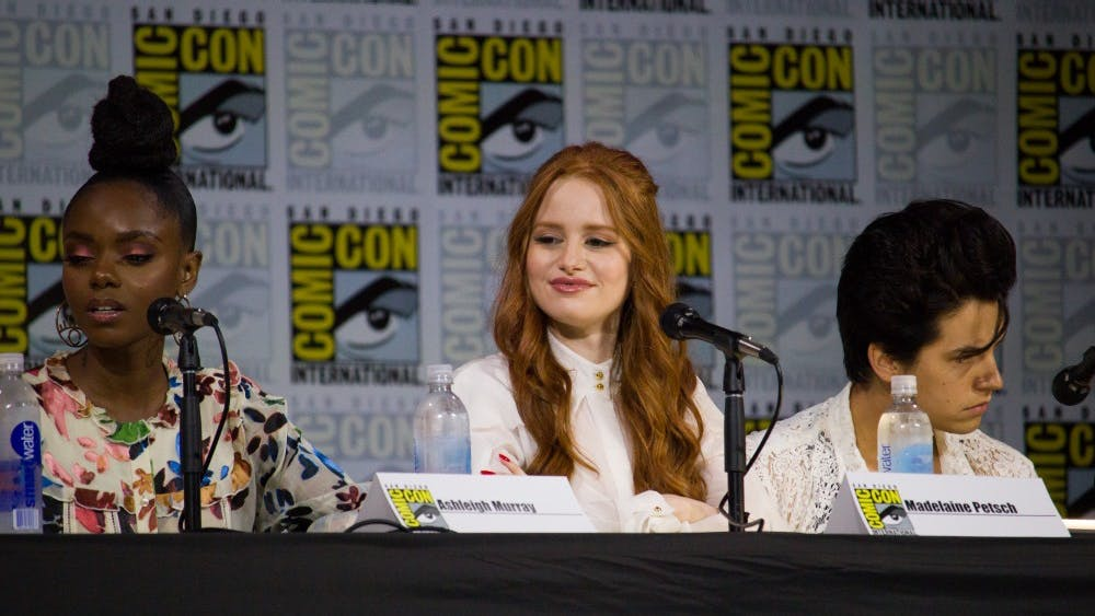 VAGUEONTHESHOW/CC BY 2.0 Madelaine Petsch (center) plays Cheryl Blossom on the CW's Riverdale.