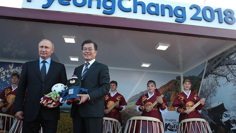 PUBLIC DOMAIN Vladimir Putin visits PyeongChang to represent the Olympic Athletes of Russia.