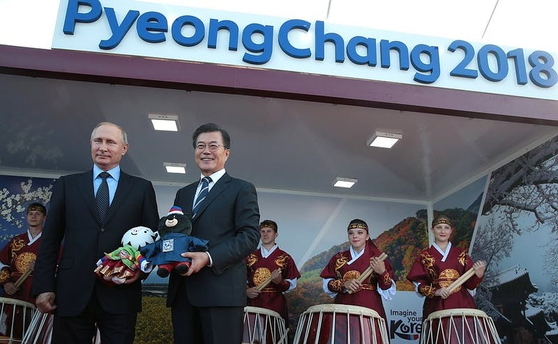 PUBLIC DOMAIN Vladimir Putin visits PyeongChang to represent the Olympic Athletes of Russia.