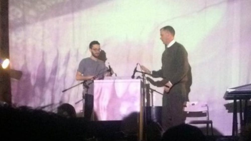 """COurtesy of David Shi M.C. Schmidt (right) of Matmos """"plays"""" the washing machine while partner Drew Daniel sits nearby, sampling and composing."""