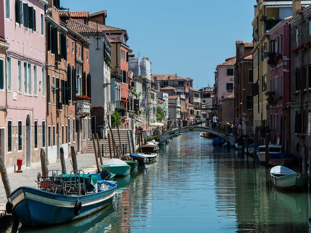 Maëlick/CC BY-SA 2.0 Santoro notes that Venice canals have improved in cleanliness due to reduced pollution during the COVID-19 pandemic.