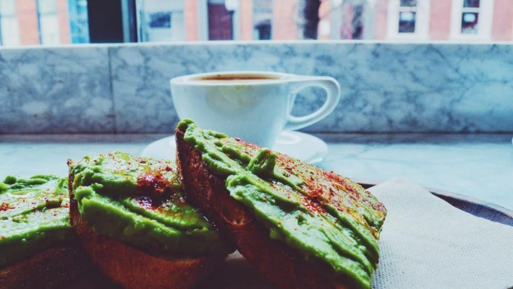 COURTESY OF RACHEL UNDERWEISER Avocado toast and a cup of tea at Dooby's makes a great study snack.