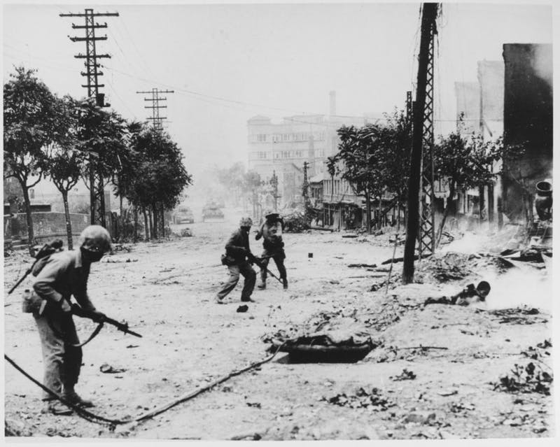 Naval Historical Center/CC BY-SA 1.0 Taegukgi depicts the cruel conditions of the Korean War.