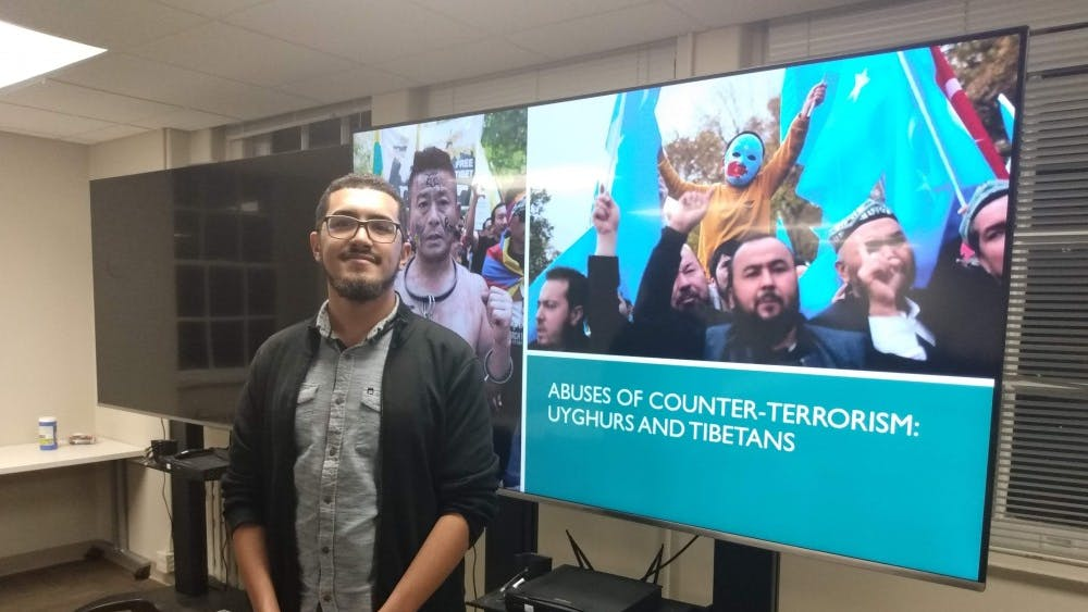 COURTESY OF CLAIRE GOUDREAU A sophomore from CCBC led a discussion on terrorism classifications.