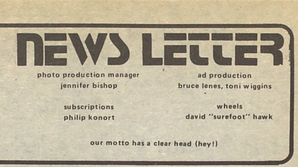 COURTESY OF THE UNIVERSITY ARCHIVES — SHERIDAN LIBRARIES Mike Deak, Elliot Grover, Phil Konort and Mark Wolkow worked together on The News-Letter, as shown in this masthead from 1977.