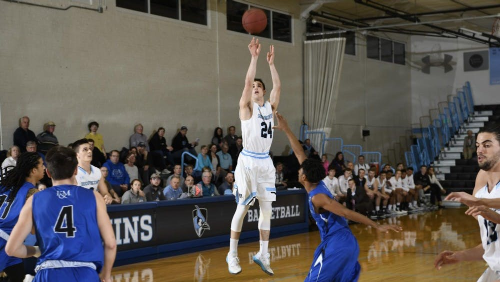 HOPKINSSPORTS.COM Michael Gardner led the Blue Jays with 18 points against F&M.