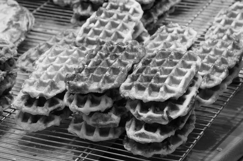 JRENIER/public domain Just look at these beautiful waffles. Golden West Cafe in Hampden only serves these treats during the weekend.