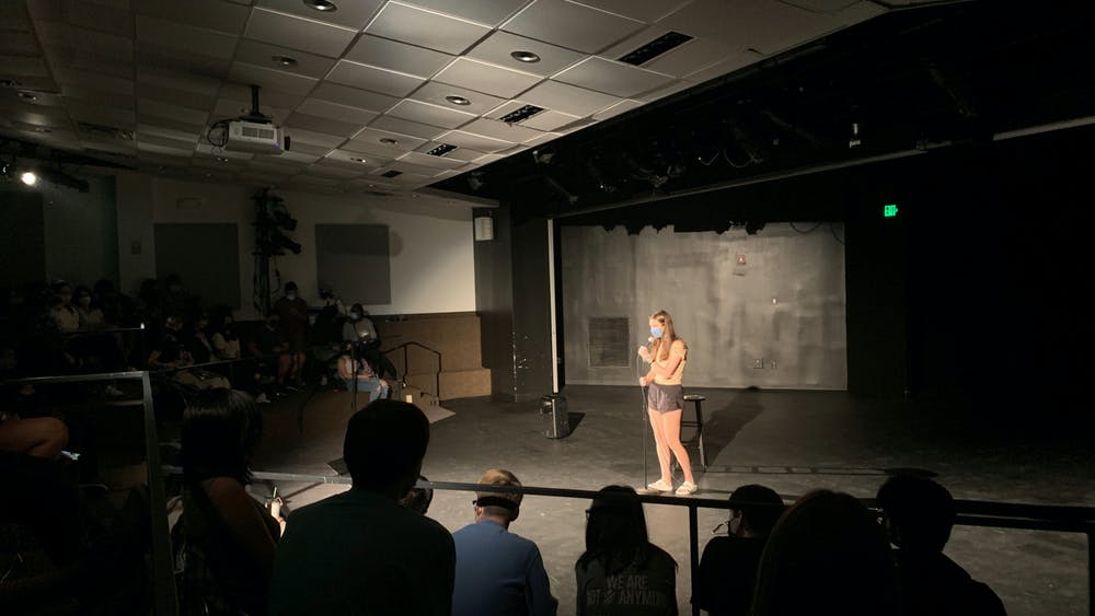 COURTESY OF SOPHIA PASALIS SUCC President Kyra Rothwell addressed the crowd at last Friday's Stand-Up Comedy Show.
