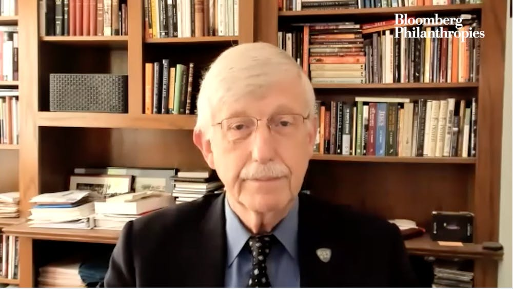 COURTESY OF WILLIAM BLAIR National Institutes of Health Director Francis Collins discussed the current state of the pandemic, along with booster shots, COVID-19 variants and vaccine hesitancy.