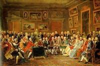 Anicet-Charles-Gabriel Lemonnier/Public domain Salon de Madame Geoffrin (1812) depicts participation in an Enlightenment-era salon.