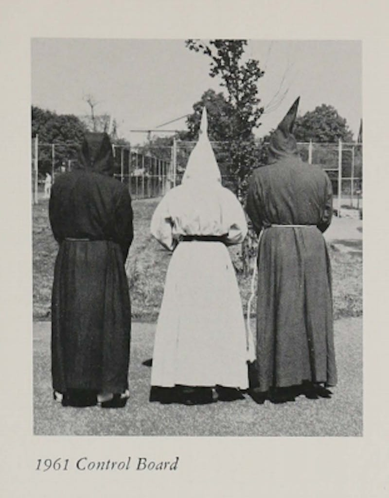 COURTESY OF HULLABALOO The image of 3 students in KKK robes was found in a 1961 yearbook.