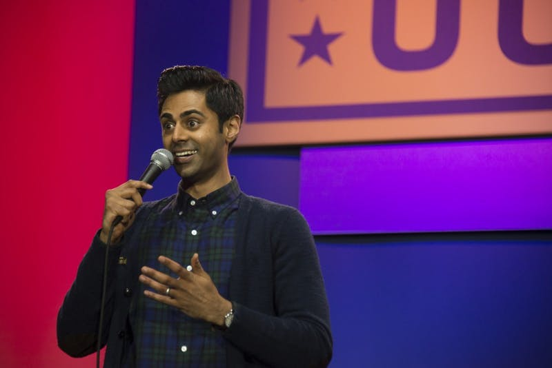 U.S. Air Force photo/Staff Sgt. Kat Justen  Hasan Minhaj adapts his usual stand-up persona for a weekly Netflix show.