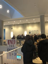 The protest was relocated last-minute, but students found it was effective.