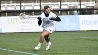 HOPKINSSPORTS.COM Junior attacker Miranda Ibello scored four goals to lead the Jays' offensive efforts in Saturday's game against the Marquette Golden Eagles.