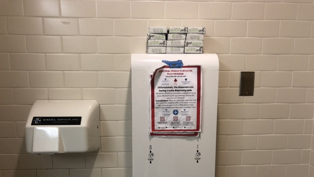 COURTESY OF LEELA GEBO  Wings is distributing free tampons and pans to 10 restrooms on campus.