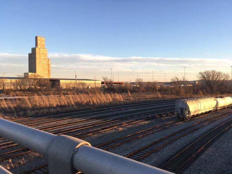 COURTESY OF RENEE SCAVONE A railroad yard near Fort McHenry.