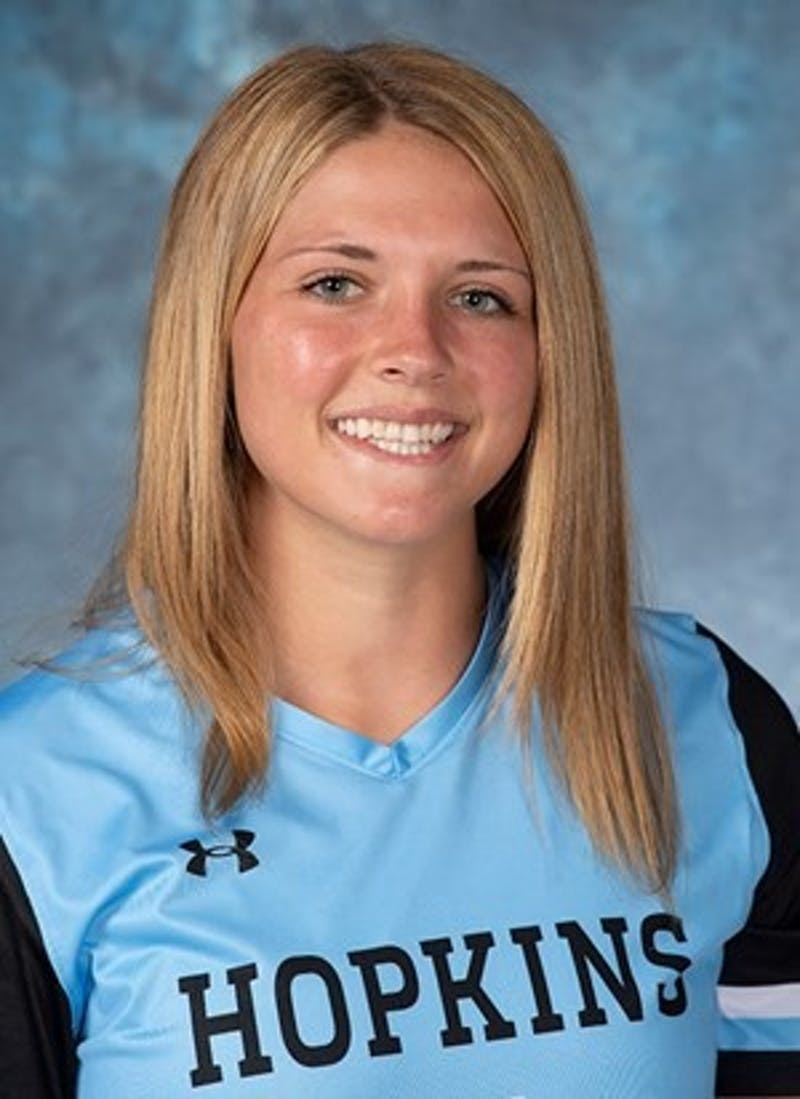 HOPKINSSPORTS.COM Junior midfielder Emily Maheras.