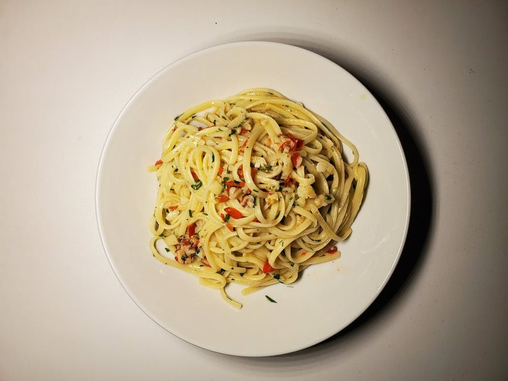 COURTESY OF JESSE WU Pasta aglio e olio is just one of the many dishes that Wu has made while social distancing.