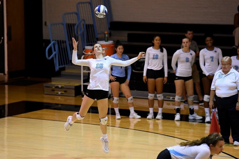 Hopkinssports.com This weekend's matches put women's volleyball at a 7-0 record for this year.
