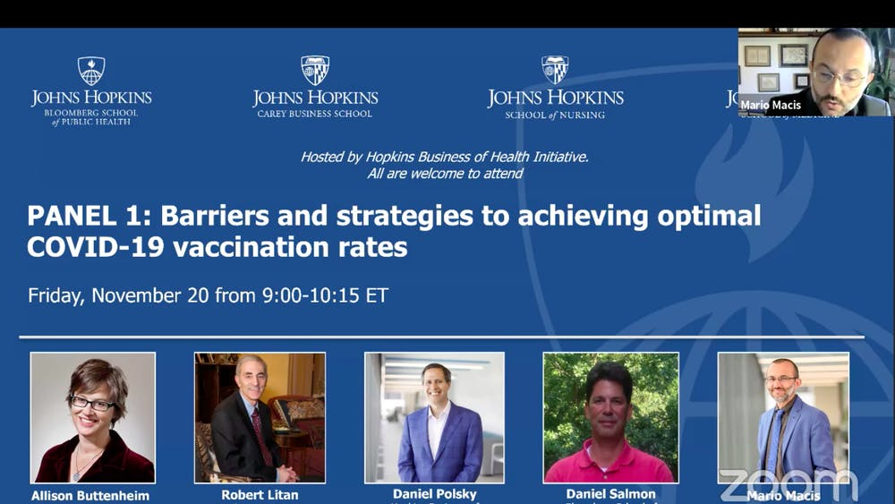 COURTESY OF HOPKINS BUSINESS OF HEALTH INITIATIVE All four panelists agreed that a large federal budget is required to incentivize the public to vaccinate.