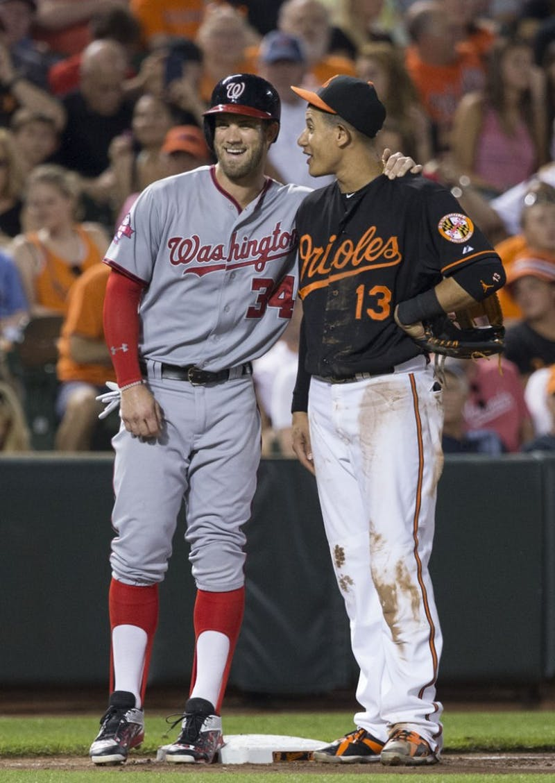 Keith Allison/CC BY-SA 2.0 Machado (right) and Harper (left) will look to elevate their new teams.