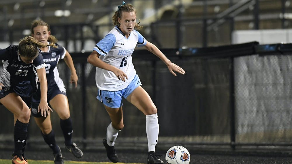 COURTESY OF HOPKINSSPORTS.COM Freshman forward Katie Sullivan scored the dagger to secure the Hopkins win last weekend.