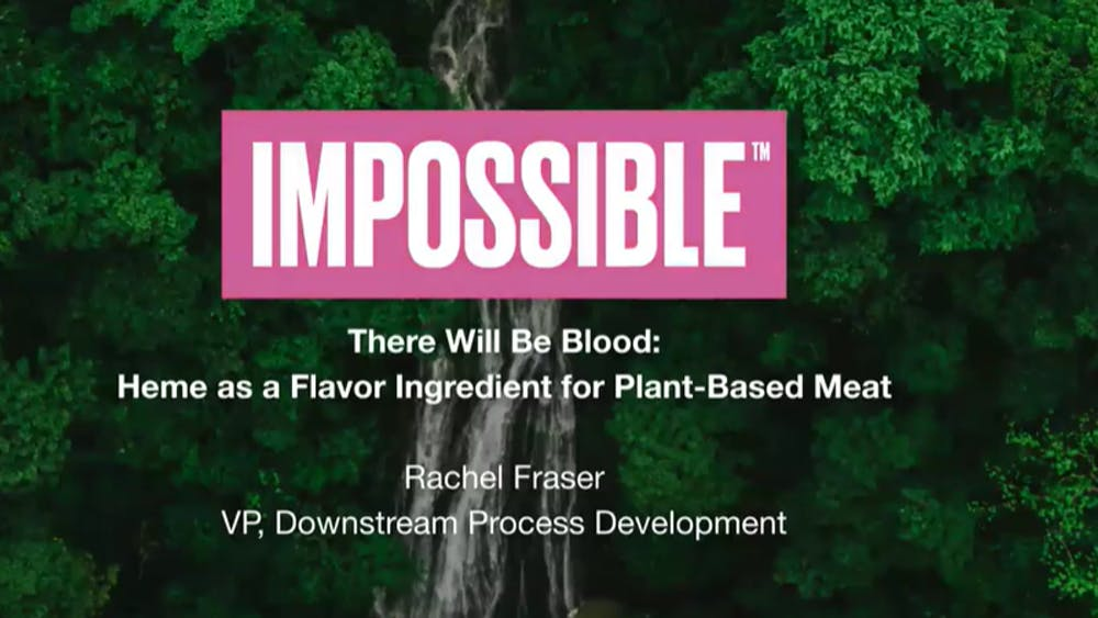 COURTESY OF RACHEL FRASER Heme is a nutrient found in animal tissue and a crucial flavoring ingredient in plant-based meats.