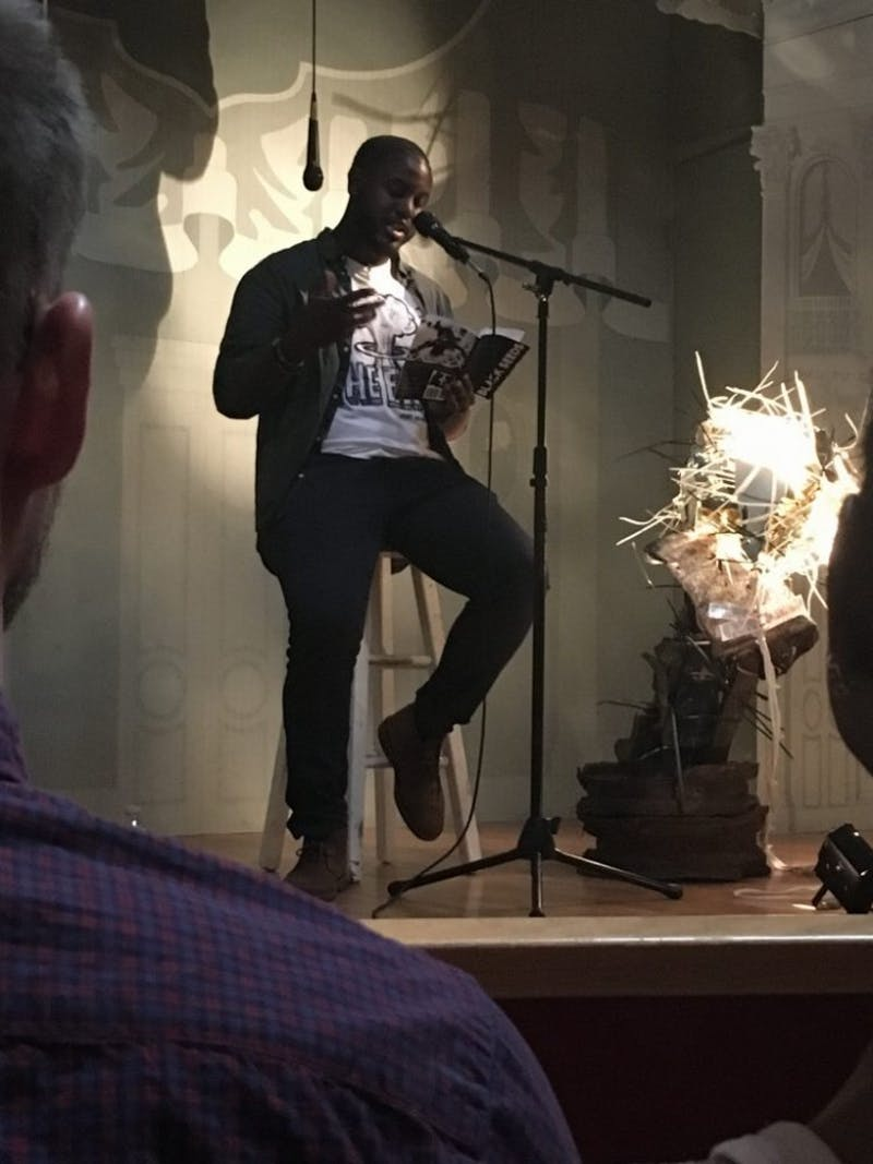 Courtesy of Mia Capobianco Poet Tariq Touré recited pieces from his recent book, Black Seeds.