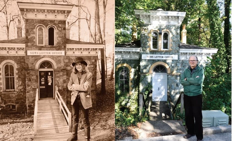 COURTESY OF RICHARD CHILDRESS & WILL KIRK Hill stands in front of the Gatehouse in 1972 and 2018.