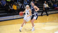 HOPKINSSPORTS.COM Hopkins shot just 30.6 percent from the field in their loss to the Falcons.